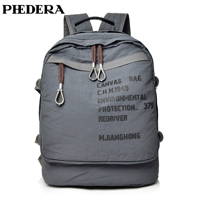 PHEDERA New High Quality Canvas Backpack Women Men Rucksack Teenager Students Tide Backpacks Black Gray Travel Casual Bags wellvo women solid vintage backpacks for teenager girls black multifunctional backpack new designed high quality rucksack xa84wb