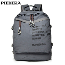 PHEDERA New High Quality Canvas Backpack Women Men Rucksack Teenager Students Tide Backpacks Black Gray Travel Casual Bags