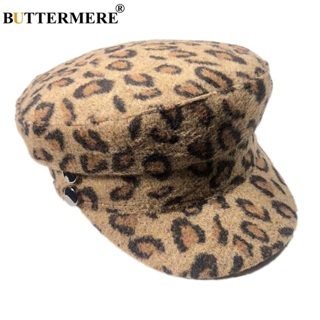 BUTTERMERE mujeres japonés gorra militar de lana leopardo vendedor gorra  Baker Boy sombrero Otoño Invierno de 131d450f823