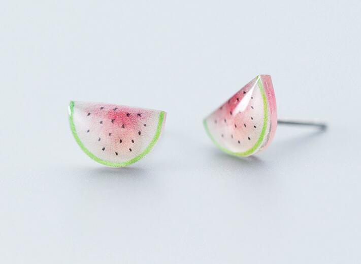 1pair 100% Real. 925 Sterling Silver Fine Jewelry Watermelon Stud Earrings gtle2104