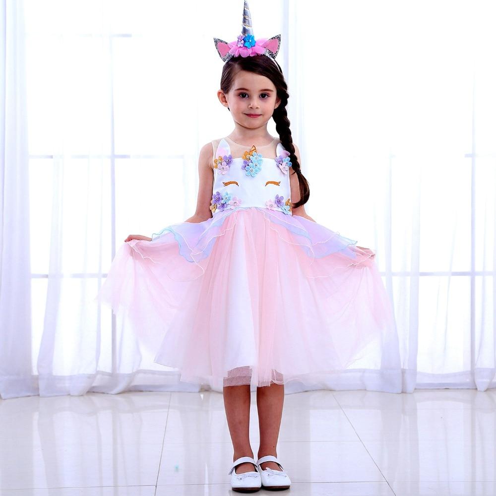 Fancy Dress For Girls Unicorn Party Dress Up Kids Rainbow