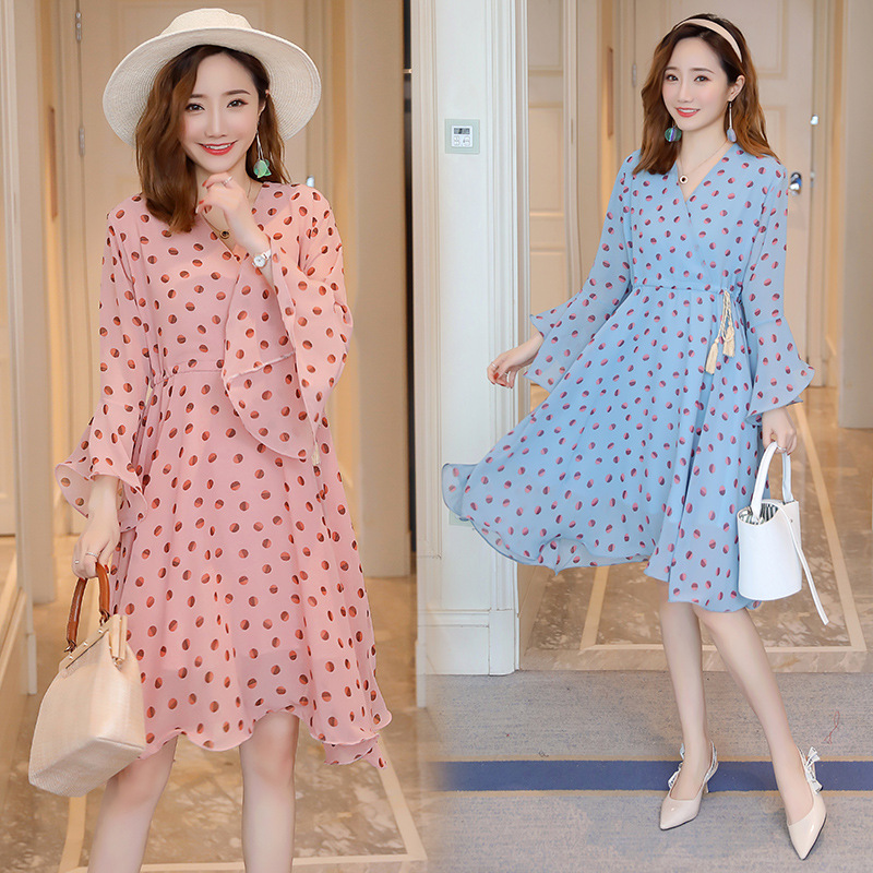 Maternity Clothes Spring Summer Elegant Dot Floral Breastffeding Dresses Long Sleeve Chiffon Nursing Dress Pregnant Women OutMaternity Clothes Spring Summer Elegant Dot Floral Breastffeding Dresses Long Sleeve Chiffon Nursing Dress Pregnant Women Out