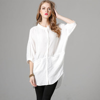 Fashion large size women's summer new products in the sleeve pure color single-breasted loose shirt shirt