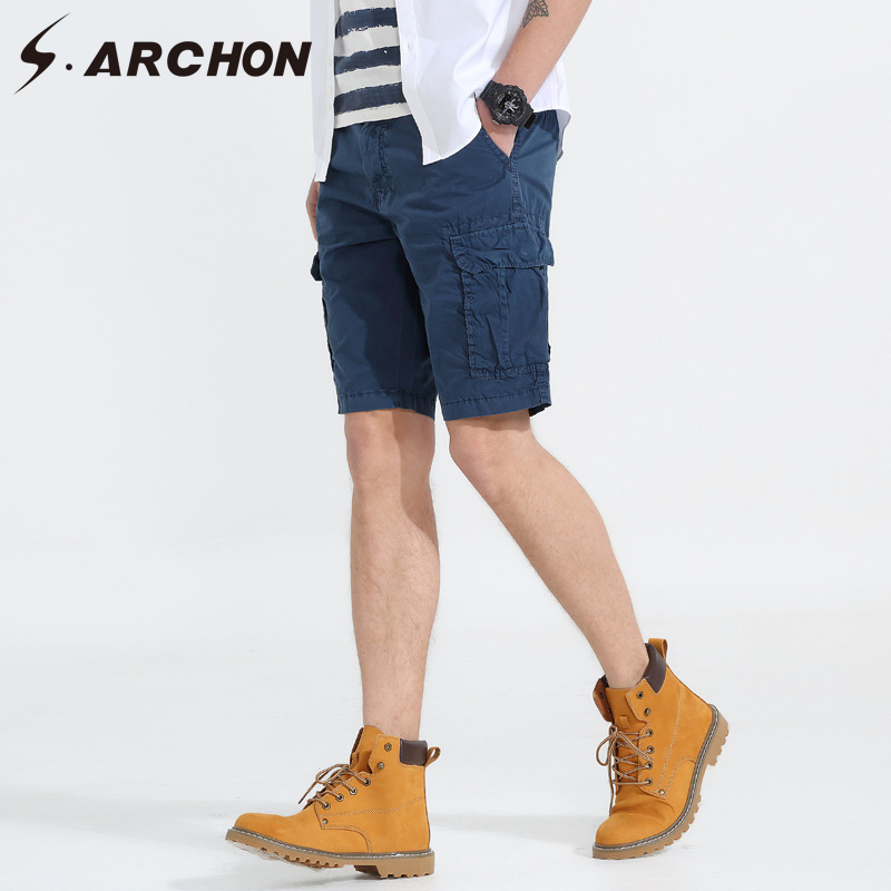 S.ARCHON Summer Casual Men Shorts Full Cotton Military Tactical Cargo Shorts Fashion Loose Streetwear Work Shorts Man Trousers