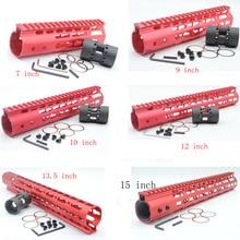 Купить с кэшбэком 7'' 9'' 10'' 12'' 13.5'' 15''  Length Red Free Float Rail Mount Keymod Handguard with Steel Barrel Nut Fit AR-15