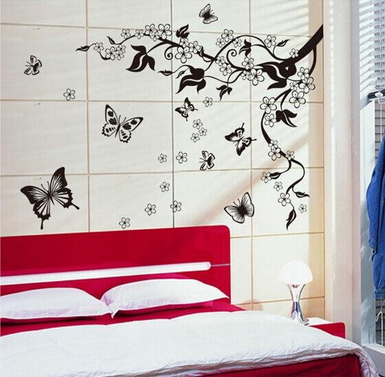autocollant freska crni leptir vino cvijet naljepnica za zid kupatilo - Kućni dekor - Foto 4