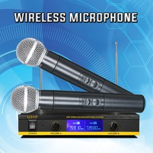 Professional Wireless Microphone Dual Handheld Karaoke MIC for Computer TV Compatible with DVD Laptop Speaker Interface