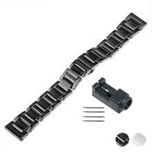 18 мм 20 мм Керамические Часы Ремешок для Breitling Бабочка Пряжка Ремень Замена Ремешок Для Часов Ссылка Наручные Пояс Браслет Черный Белый