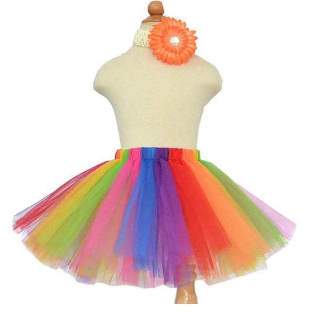 Hot Sale Rainbow Tutu Kids Baby Girls Skirt Elastic Fluffy Tulle Skirts Mini