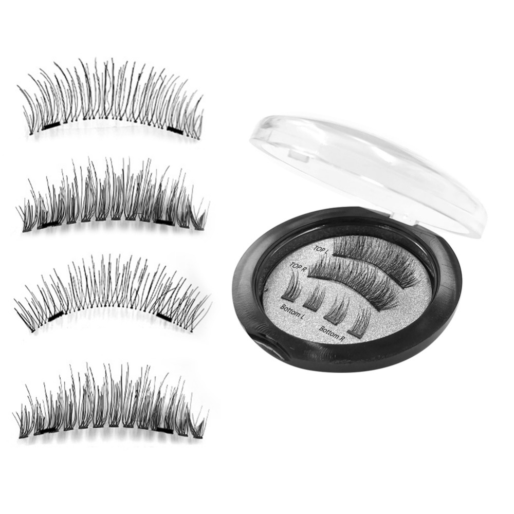 NEW 4Pcs Ultra-thin 0.2mm Magnetic Eye Lashes 3D Reusable False Magnet Eyelash Extension 3D Magnetic False Eyelashes