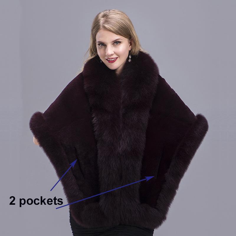 e71e31a15089ee MS.MinShu Fox Fur Shawl Winter Women Real Fur Pashmina Fashion ...