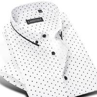 Men S Short Sleeve Polka Dot Triangle Printed Dress Shirt Smart Casual Slim Fit Contrast Color