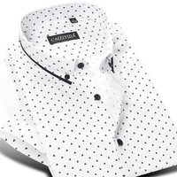Men S Short Sleeve Polka Dot Triangle Printed Dress Shirt Smart Casual Slim Fit Contrast Color