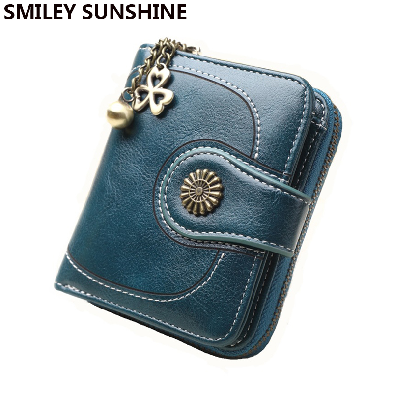 SMILEY SUNSHINE Patent Leather Zipper Small Women Wallets Vi