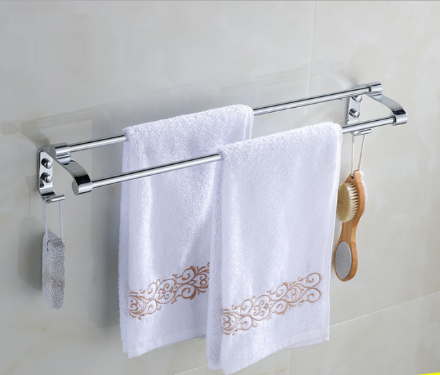 Genial Stainless Steel Towel Bar With Hook 60cm Double Bathroom Towel Rack Double Towel  Bar Bathroom Accessories