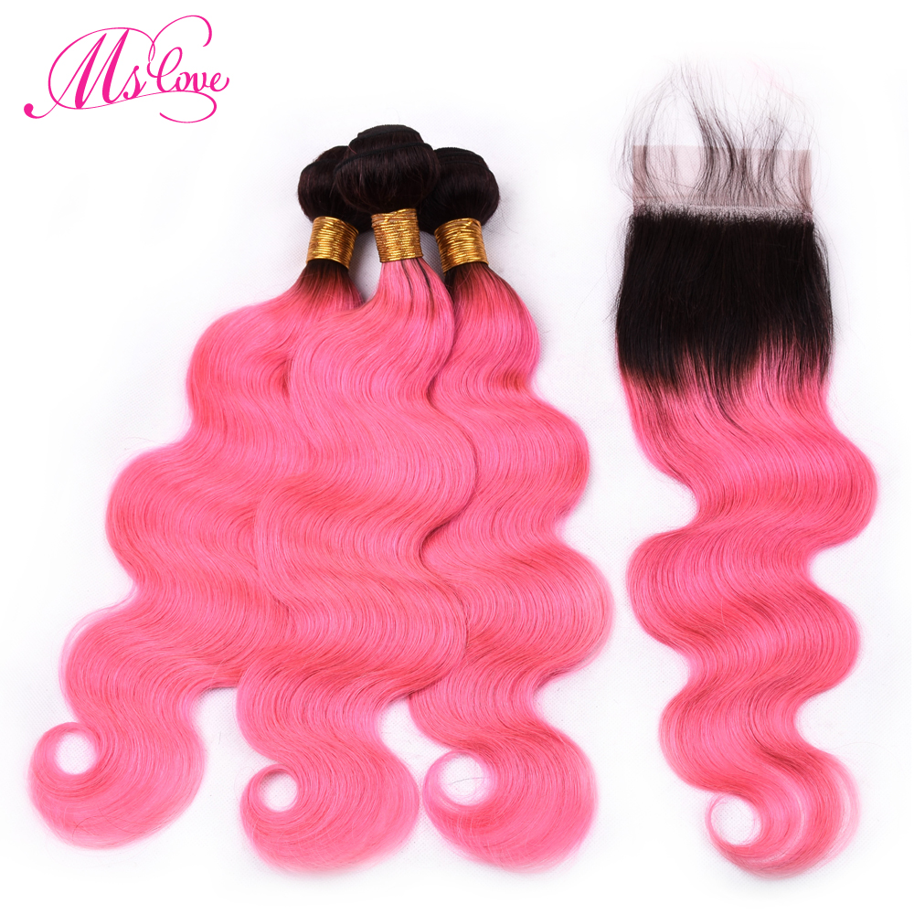 Ms Love Pre Colored Hair T1b Pink Body Wave Bundles With Closure Remy Ombre Brazilian Human Hair Bundles With Lace Closure