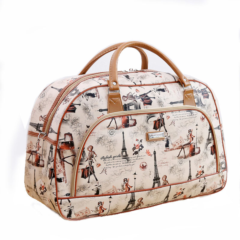 Women Travel Bags Leather Bag Women\'S Waterproof Travel Duffel Bag Tower Beauty Female Print Luggage