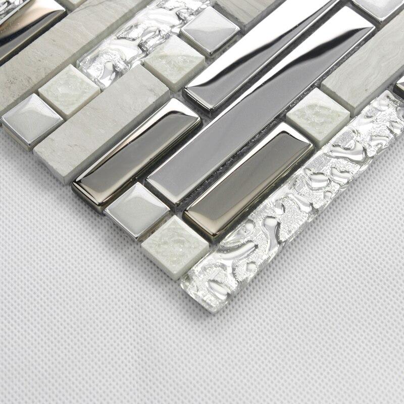 Striscia di colore grigio metallo misto di vetro e pietra ...