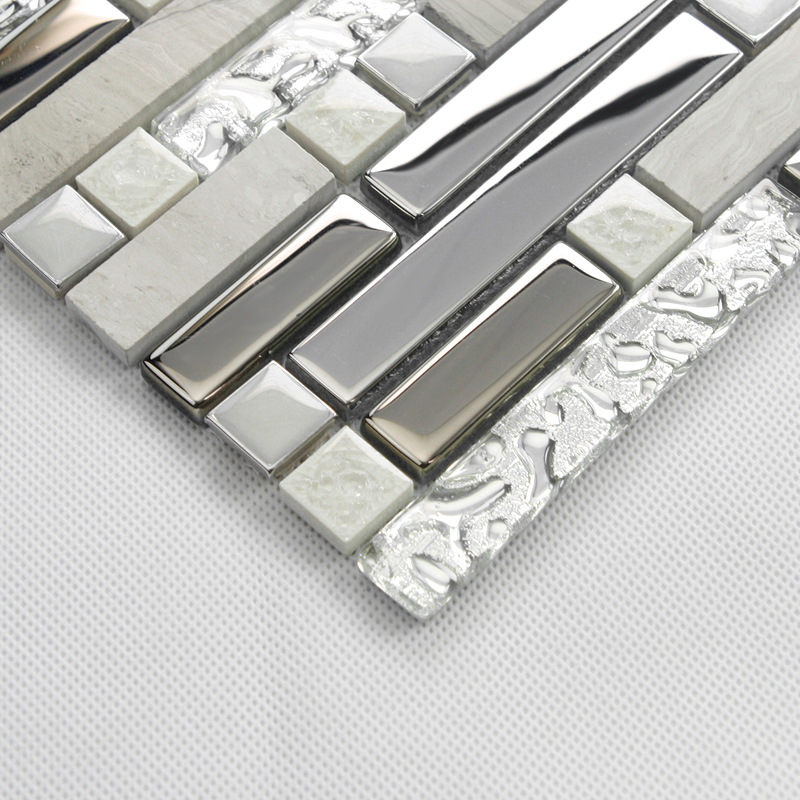 strip gray color metal mixed glass and stone mosaic tile for kitchen