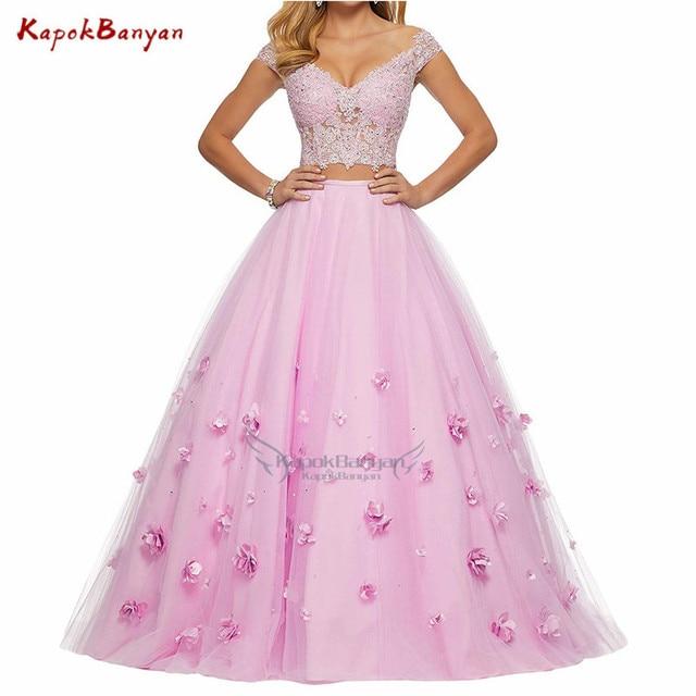 שמפניה סקסי לנשף שמלה לנשף 2019 ארוך אלגנטי שמלות פרח 2 חתיכות מסכת כדור שמלה עבור בנות