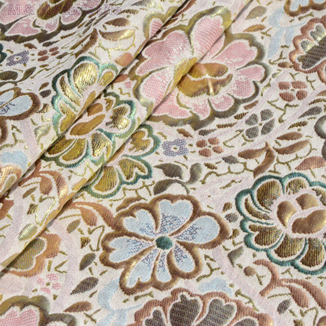 145cm Polyester Cotton Lotus Flower With Gold Thread Jacquard