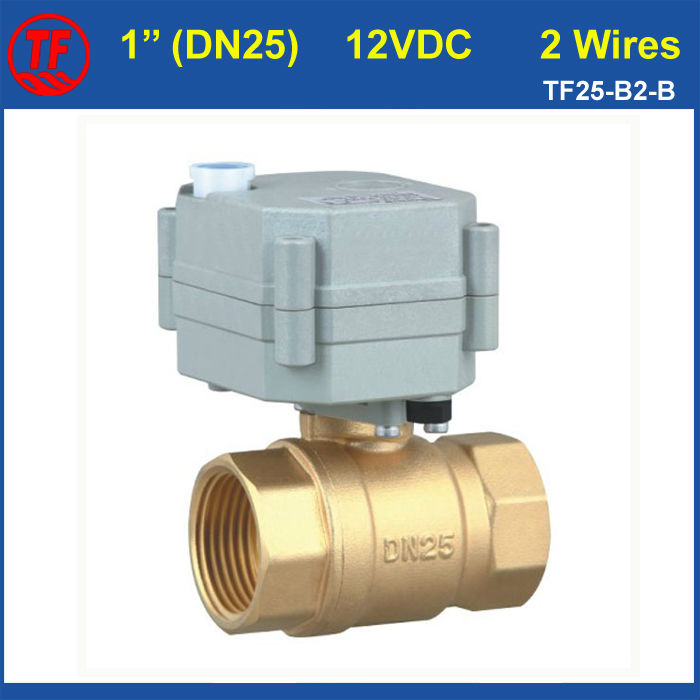 ФОТО Hot High Quality Metal Gear DC12V 1'' Motorized Brass Valve 2 Wires 2 Way DN25 Actuated Ball Valve BSP/NPT Thread