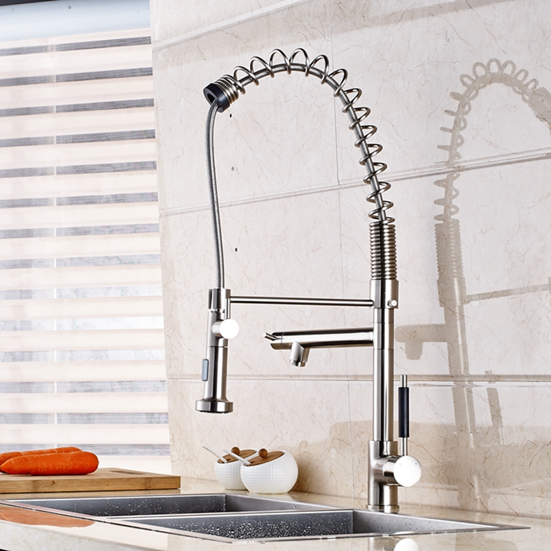 Tall Spring Kitchen Faucet Brushed Nickel Vessel Sink Mixer Tap Dual Sprayer Tap tall tales