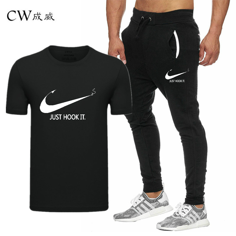 HTB1RAKNVyLaK1RjSZFxq6ymPFXa2 2019 Quality Men T Shirt Sets+pants men Brand clothing Two piece suit tracksuit Fashion Casual Tshirts Gyms Workout Fitness Sets
