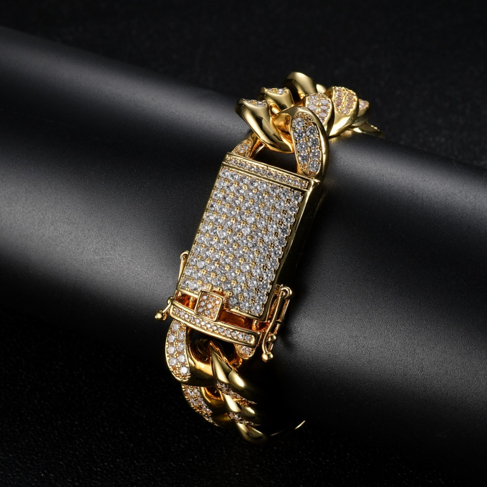 2cm 8 9 Mens Womens Micro Pave Cubic Zirconia Bangle Miami Cuban Chain Bracelets Hip hop