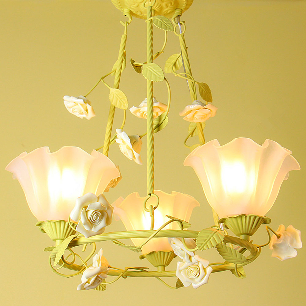 Us 130 09 25 Off Flower Chandelier Led Wrought Iron Nursery Light 110 220v Loft Home Lighting Warm Pink Re Chandeliers Luminaria In