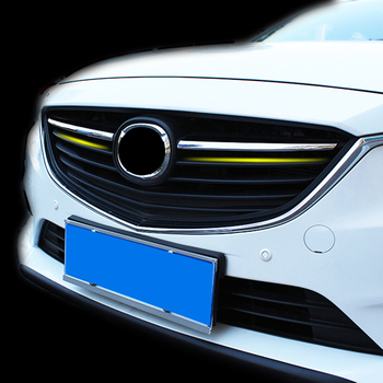 AX Chrome Front Center Mesh Grille Cover For Mazda 6 Atenza m6 Gj 2014 2015 Trim Radiator Strips Molding Garnish Decoration grille