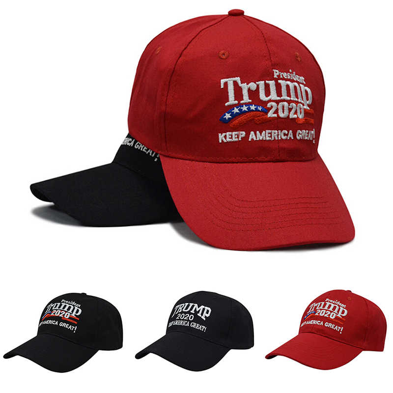 Unisex Adjustable Republican Red Black Hat Re-Election Keep America Great Embroidery 2020 New Cap Cotton Baseball Hat