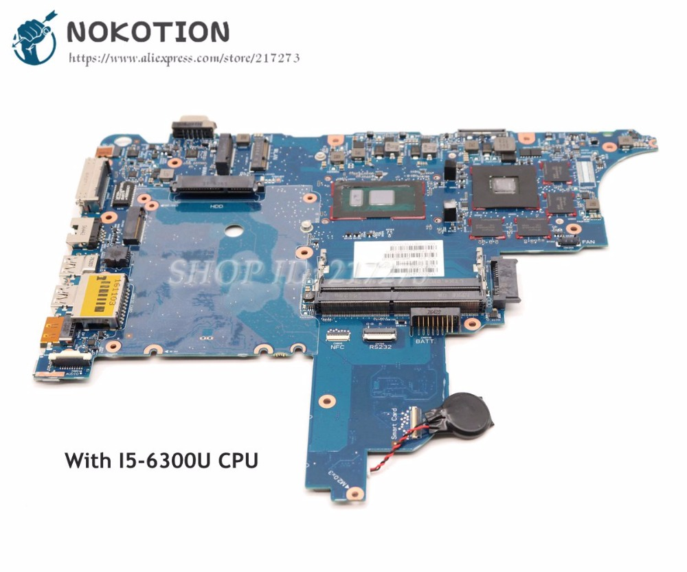 NOKOTION 840712-601 840712-001 For HP probook 650 G2 Laptop Motherboard SR2F0 I5-6300U CPU CIRCUS-6050A2723701-MB-A02