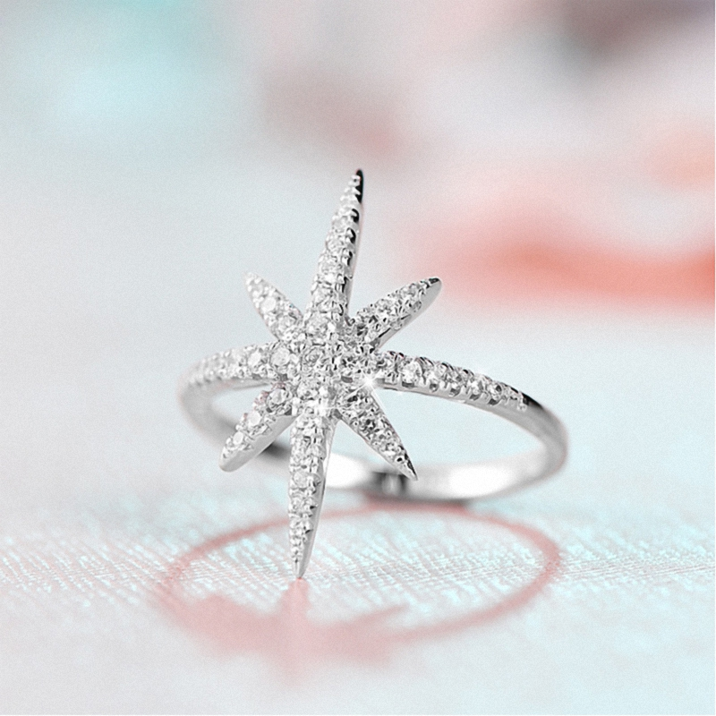 2017 Hot Sale Brand Real AAA Zirconia White Gold Color Micro Inlays Fashion Star Ring for Women Anti Allergies 103218