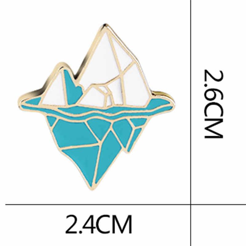 Del metallo Dello Smalto Blu Bianco della Neve In Montagna Spille Del Fumetto Antartico iceberg Spilla Pulsante Zaino Spille Icona Distintivo Regalo Dei Monili
