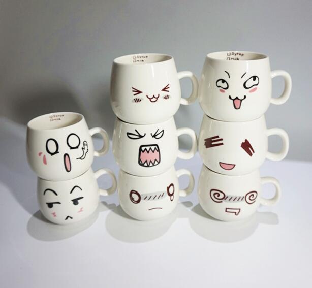 Creative Fun Lovely 8 Styles Cute Face Mug White Pottery Ceramic Cup Tea Coffee Milk Cup With Handgrip 300ml