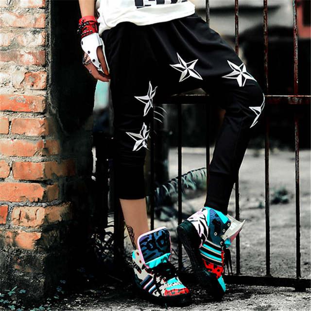placeholder just.be.never hip hop style women summer harem pants black  white pentagram hip c8e58d02a660