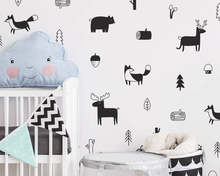 Nordic Style Forest Animal Wall Decals , Woodland Tree Nursery Vinyl Art Wall Stickers Children Room Modern Wall Decor(China)