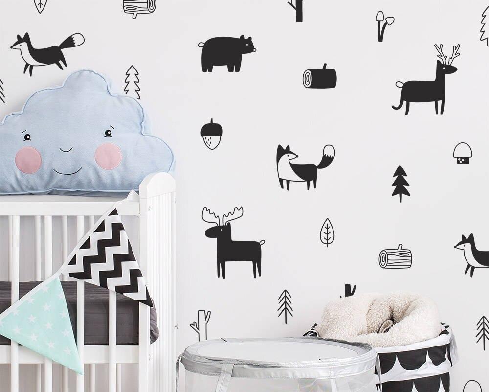 Calcomanías de pared de animales del bosque del estilo nórdico, pegatinas de pared del arte del vinilo del árbol del bosque, decoración moderna de la pared de la habitación de los niños