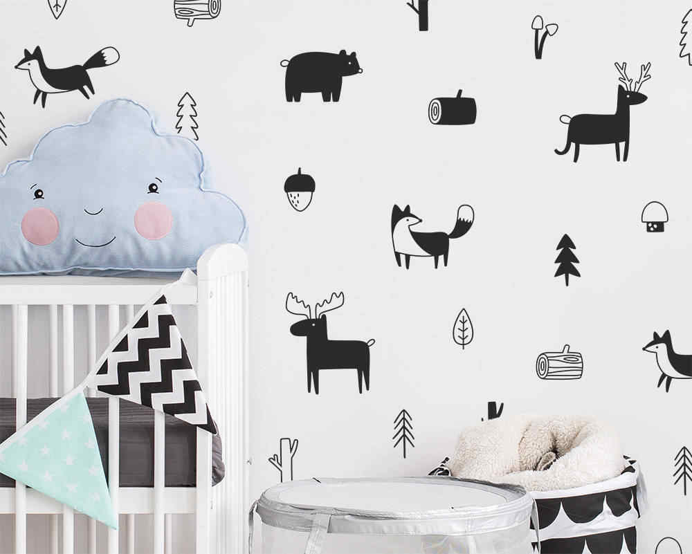 Vinyl decals stickers vinyl wall art mural Light Pink and Grey flower pattern tree and jungle animals