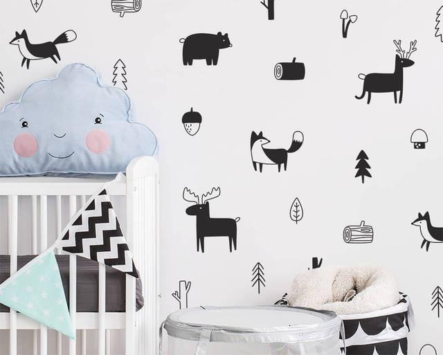 Nordic styl las zwierząt naklejki ścienne, Woodland drzewo przedszkole winylowe ozdobne naklejki ścienne dla dzieci pokój nowoczesne dekoracje ścienne