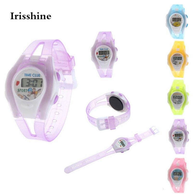 Irissshine #500719 Boy Girl Student Sport Time Clock Electronic Digital LCD Wrist Watch GIFT Children Watches Wholesale