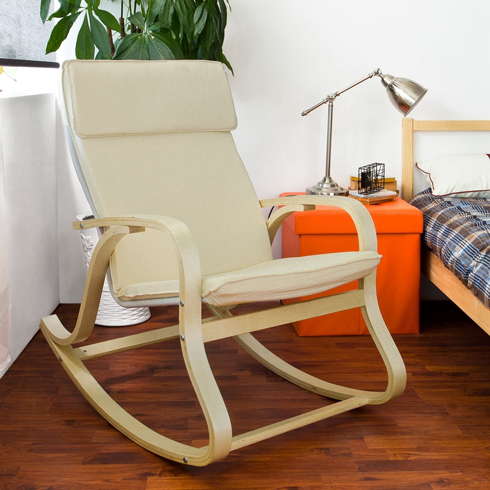 Comfortable Relax Rocking Chair Gliders Lounge Chair with Cotton Fabric Cushion Living Room Furniture Modern Rocking Chair Wood-in Living Room Chairs from ... & Comfortable Relax Rocking Chair Gliders Lounge Chair with Cotton ...