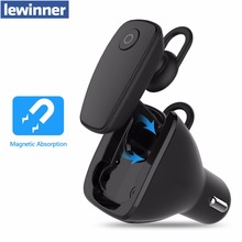 lewinner 2-in-1 Wireless Bluetooth 4.1 Headsets + Car Charger In-car Headphone Car Kit Earphone Hands-free Calling for iPhone