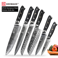 KEEMAKE 6PCS Kitchen Knives Set Slicing Santoku Chef Knife Japanese Damascus VG10 Steel Sharp Blade Meat Cutter Tools G10 Handle