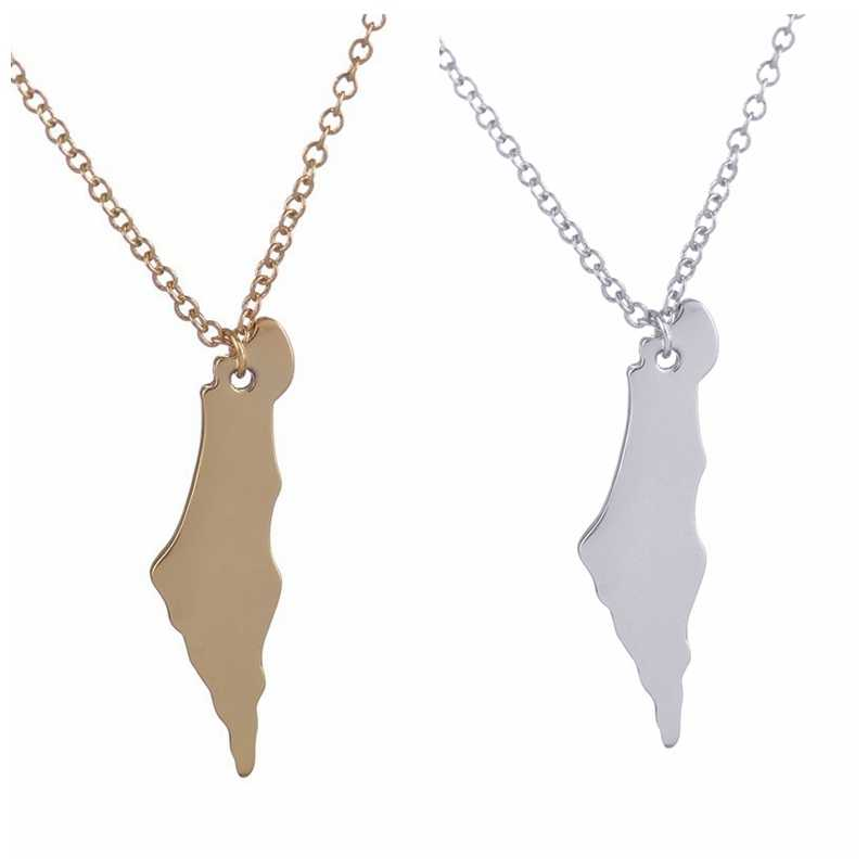 New Fashion Palestine Map Necklace Long Chain Map Pendants Necklaces for Women Girls Birthday and Party Jewelry Gifts -N195