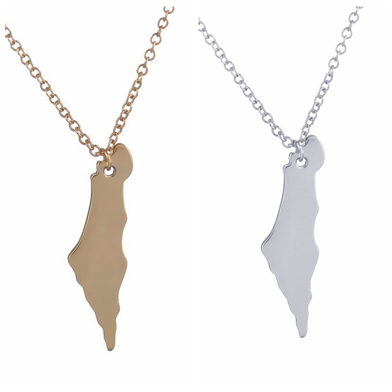 New Fashion Israel Map Necklace Long Chain Map Pendants Necklaces for Women Girls Birthday and Party Jewelry Gifts -N195