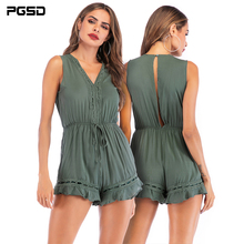 PGSD New Summer simple green Sleeveless solid color V-neck Hollow Lotus leaf edge casual Playsuits female Fashion women clothes