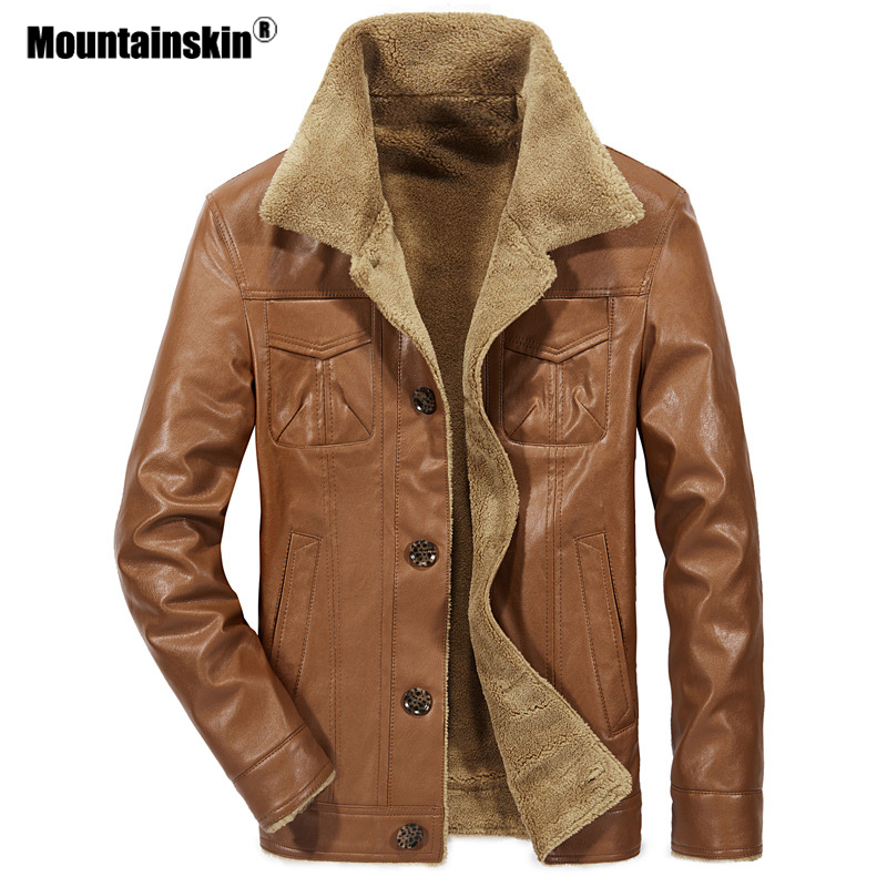 Mountainskin 2018 Novos homens Jaqueta De Couro PU Casacos Mens Roupas de Marca Outerwear Jaquetas de Lã de Pele do Inverno Masculino Térmica SA533