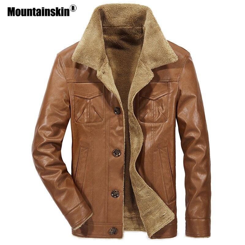 Mountainskin 2018 nueva chaqueta de cuero de los hombres de la PU abrigos para hombre de la marca ropa térmica ropa de invierno de piel de hombre chaquetas de lana SA533